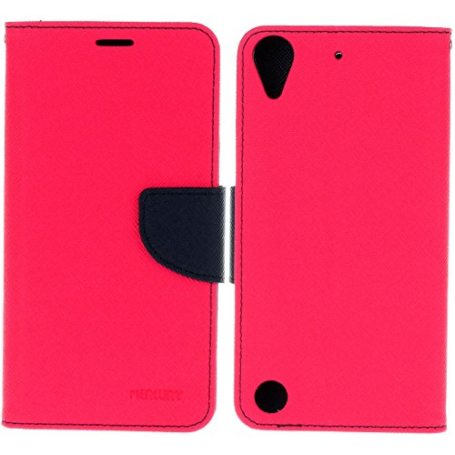 HTC Desire 530 funda,COOLKE Dos Colores Funda Carcasa Cuero Tapa Case Cover Para HTC Desire 530/ 630 - Rose Rose