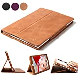iPad Air 2 Case, BoriYuan Smart Genuine Leather Stand Folio Cover for Apple iPad Air 2 with Card Slot [Magnetic Sleep/Wake], with Stylus and Screen Protector, Vintage Brown
