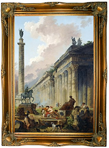 Historic Art Gallery Imaginary View of Rome with Equestrian Statue of Marcus Aurelius, The Column of Trajan & A Temple 1786 by Hubert Robert Framed Canvas Print - Ornate Gold Gallery - - Art Equestrian Canvas