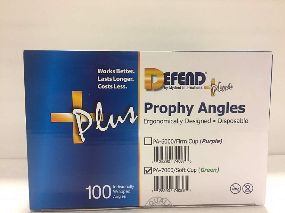Mydent Defend+Plus Disposable Prophy Angles, Soft Cup (Green), 100/bx PA-7000 by DEFEND