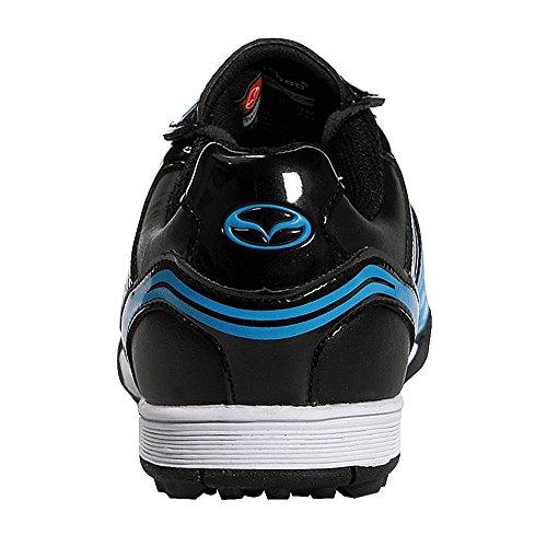 Tiebao Hombre Piso Duro Interior Velocidad Zapatos de Fútbol Charol Azul