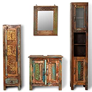 Festnight mueble de ba o de madera reciclada con espejo y - Armarios bano amazon ...