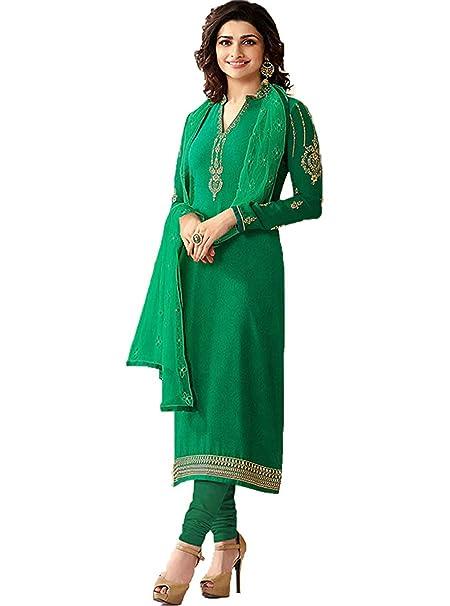Aainagirl Women S Georgette Print Salwar Suit Materials Dark Green