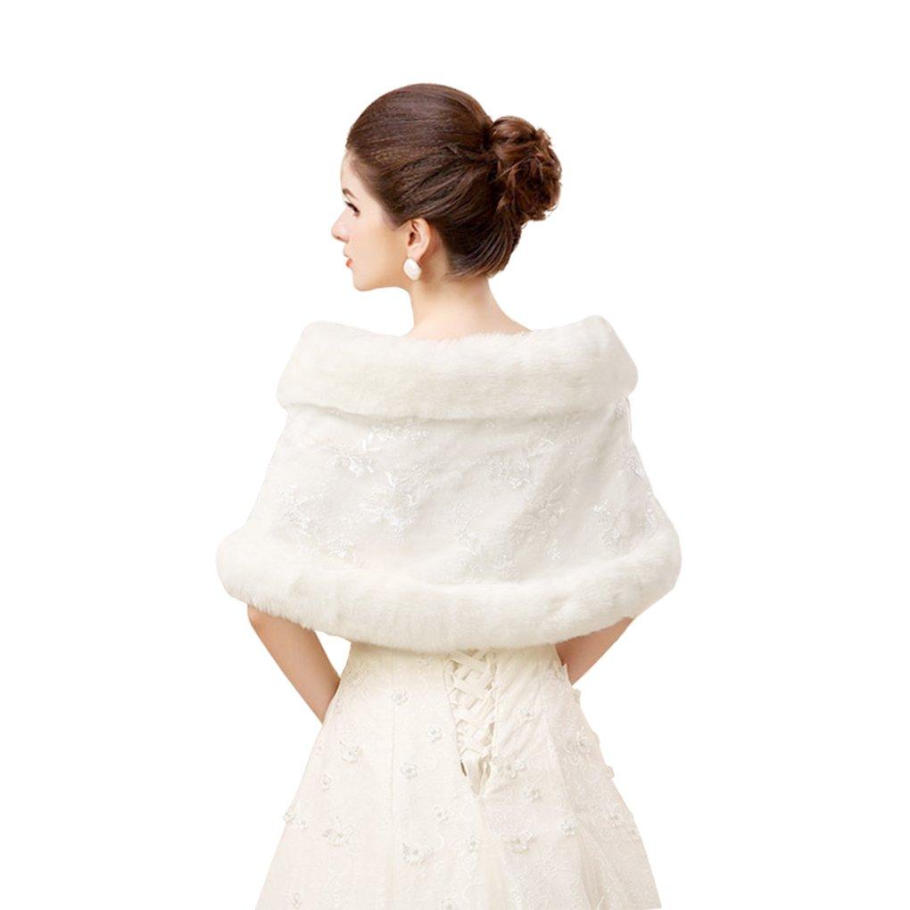 Winter /él/égante Broderie fourrure manteaux Capelets ch/âles Mariage Demoiselle dhonneur /épaule Cape Wraps Robe Manteau Tippet pour femme Blanc