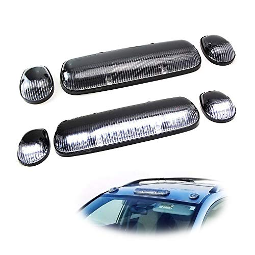 iJDMTOY 3pc-Set Clear/Black Cab Roof Top Marker Running Lamps w/White LED Lights For Chevrolet Silverado or GMC Sierra 1500 2500HD 3500HD (Also Fit Other Trucks SUVs)