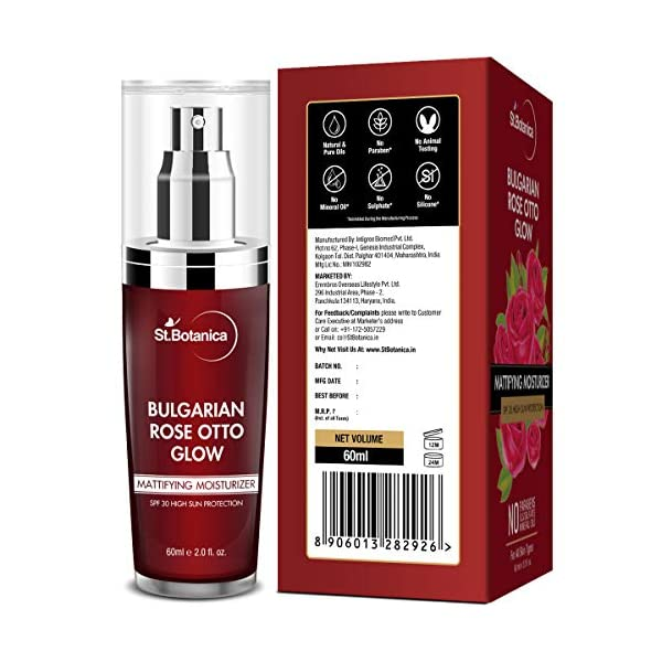 StBotanica Bulgarian Rose Otto Glow Mattifying Moisturizer Spf 30 For Oily, Acne Prone or Sensitive Skin, 60 ml… 2021 June Enriched with the beauty enhancing power of rose – Bulgarian rose Otto, rosewater, rose extract & rosehip oil are infused in the moisturizer to maximize the benefits of rose in skin care Broad Spectrum sun protection: with SPF 30 & PA+++, it shields the skin from the UVA & UVB rays & minimizes skin darkening, peeling, & flaking Nourished, balanced, glowing complexion – bioactive ingredients in the moisturizer intensely nourishes the skin and leaves skin in a healthy state