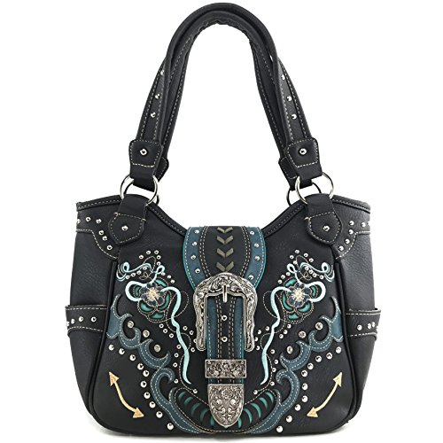 Justin West Buckle Floral Embroidered Studded CCW Concealed Carry Shoulder Purse Handbag (Black Purse Only)
