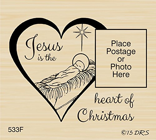 (Jesus Heart Postage Frame Rubber Stamp By DRS Designs Rubber Stamps)