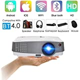 2018 New Upgraded Portable LCD WiFi Projector Bluetooth 2600 Lumen, Multimedia Wireless HDMI Home Cinema Projector with Speaker for DVD iPhone PC Xbox PS3 PS4 Basement Outdoor Movie Game Art Tracing