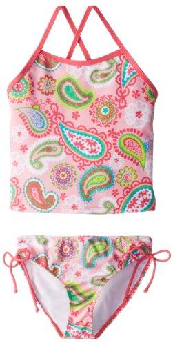 Kanu Surf Big Girls' Alexa Beach Sport 2-Piece Banded Tankini Swimsuit, Secret Garden Pink Paisley, 10