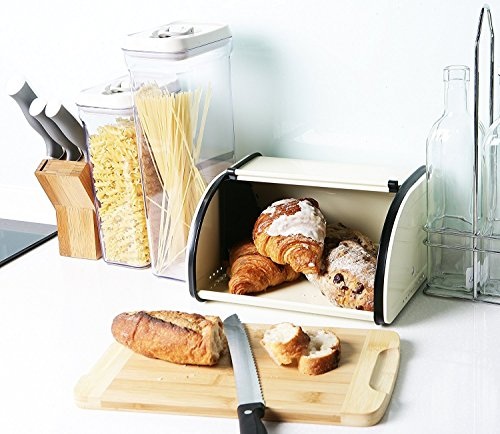 Juvale Bread Box For Kitchen Counter - Stainless Steel Bread Bin Storage Container with Roll Top Lid for Loaves, Pastries, and More - Retro/Vintage Inspired Design, Cream, 10 x 8.5 x 5.5 Inches by Juvale (Image #1)