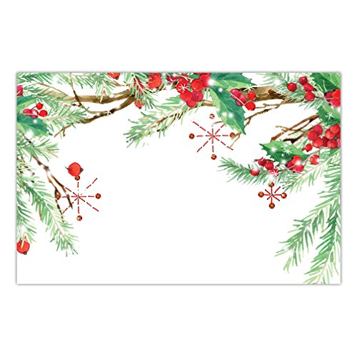 Christmas Luncheon Paper Table Placemats 25 Pack Lovely Holly Evergreen Design Office Baby Shower Baptism Engagement Parties Brunch Dinner Disposable Quick Cleanup 17