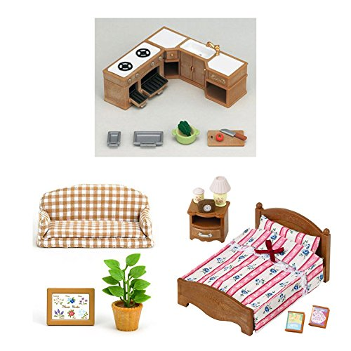 3 Sets - Indoor Furniture - Kitchen Cabinet, Reclining Chair and Semi-Double Bed (Japan (Calico Critters Kitchen Furniture)