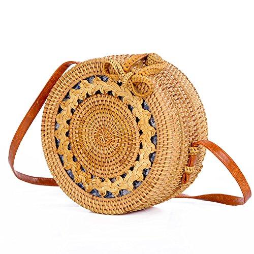 Leather Crossbody Bag 002 Shoulder Strap Bag Beach Rattan Bag Handwoven LaviniaLee Rattan Round IwqOT66A