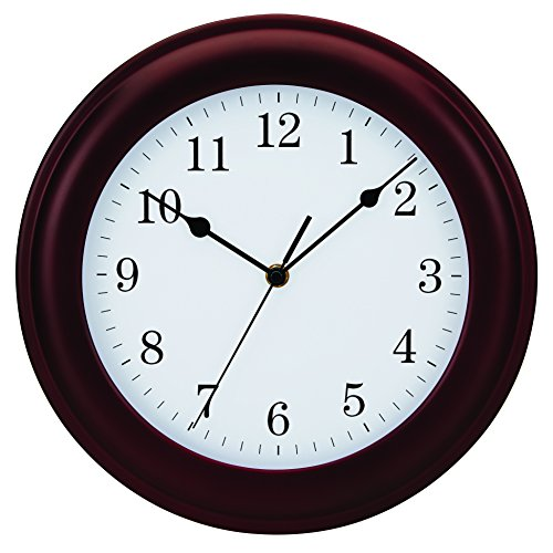Mahogany Wood Frame Wall Clock (Tempus Traditional Wood Wall Clock, 12