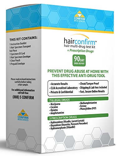 HairConfirm Hair Follicle Drug Test Kit, 12 Drugs Tested 90 Day Report ()