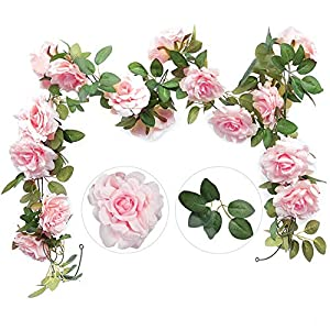 Felice Arts 2PCS(13.8FT) Artificial Rose Vine Silk Flower Garland Hanging Fake Roses Flowers Plants for Hotel Office Wedding Home Party Garden Craft Art Decor,Pink 57