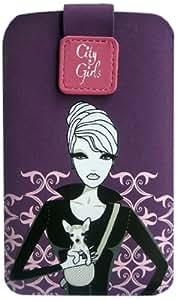 City Girls CACINUXXL01 - Funda universal para móvil (con cierre magnético), morado