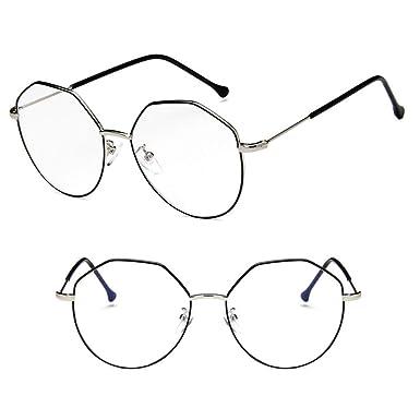 6f732c46426 Guoyy Lunettes Optiques Géométrique Myopia Monture Verres Clair Lunettes De  Vue (Argent   Noir)
