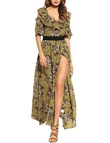 Zeagoo Women Dress Bohemian Cold Shoulder Floral Ruffle Print Flower Side High Split Maxi Dress