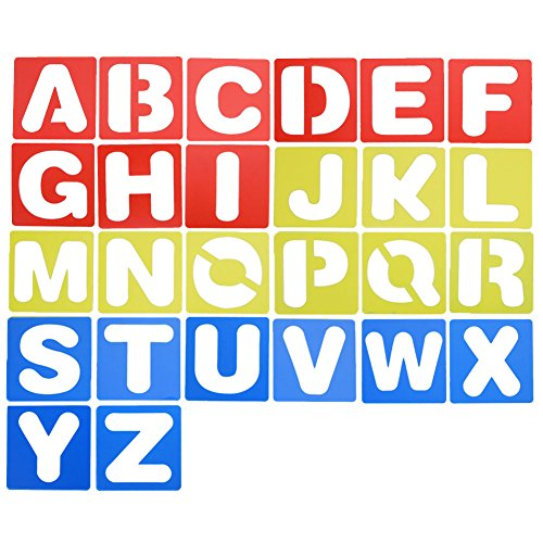 DSSY 26 Pieces Alphabet Stencils Set Plastic Letter Stencils for Learning, Painting Scrapbooking and DIY Crafts
