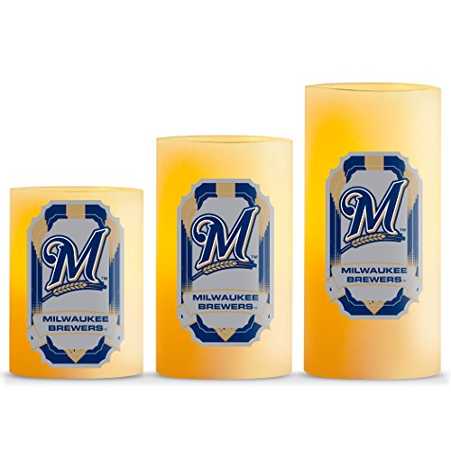 Milwaukee Brewers Led (MLB Milwaukee Brewers LED Light Candle Gift Set (3 Piece), Small, White)
