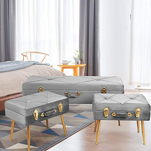 (HOMECHO Modern Storage Ottoman Bed Bench Tufted Foot Rest Stool Pouf Organizer Container Velvet Padded Seat Portable Suitcase with Detachable Metal Leg, 3 pcs Set, Gray )