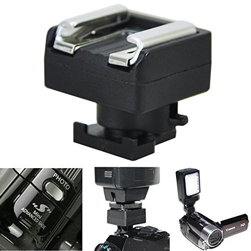 JJC Mini Advanced Shoe to Universal Shoe Adapter Converter Microphone Flash Light Holder for Canon Camcorder VIXIA HF G40 G21 G30 G20 GX10 M56 M52 M30 M31 M32 M300, HF S20 S21 S100 S200, HF200 HF20 21