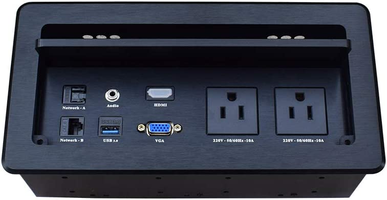 Tabletop Flip up Connectivity Box with Outlet HDMI LAN VGA Power for Desktop Conference