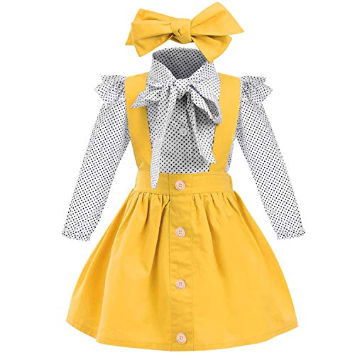 YOUNGER TREE 1-4 T Little Baby Girl Outfits Long Sleeve Shirt Overall Skirt Headband Set School Uniform Dress for Toddler