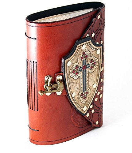 Cross shield leather bound journal with brass cross and red and blue inlay. by Skrocki Designs: fine leather and artisan jewelry