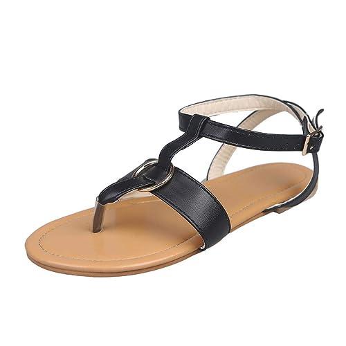 adb8ebdcf6c5 LILICAT Women s Sandals Adult Thong Sandals Ladies Summer Buckle Flat Flip  Flops Slippers Beach Sandals Roman Shoes  Amazon.co.uk  Shoes   Bags