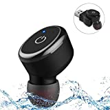 IPX8 Waterproof Bluetooth Earbud, Single Mini Wireless Headphone with 6 Hour Playtime Car Headset with Mic for iPhone and Android Smart Phones (One pcs)