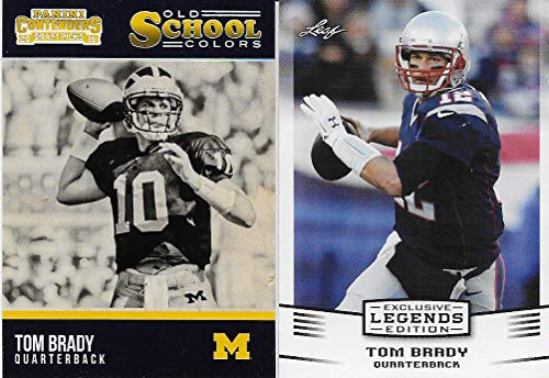 Tom Brady 5 Card Gift Lot Containing One Each of His 2017 Exclusive Legends Edition and 2016 Michigan Wolverines Old School Colors and 3 Other Brady Singles