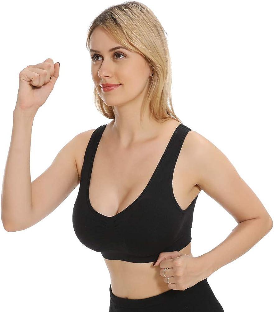 M-XXXL JOJOANS Sports Bras for Women,Seamless Wireless Comfortable Stretchy Yoga Bra with Removable Pads