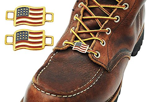 (BrooklynMaker USA Flags Shoes Boot Lace Keeper US American Union Workers)