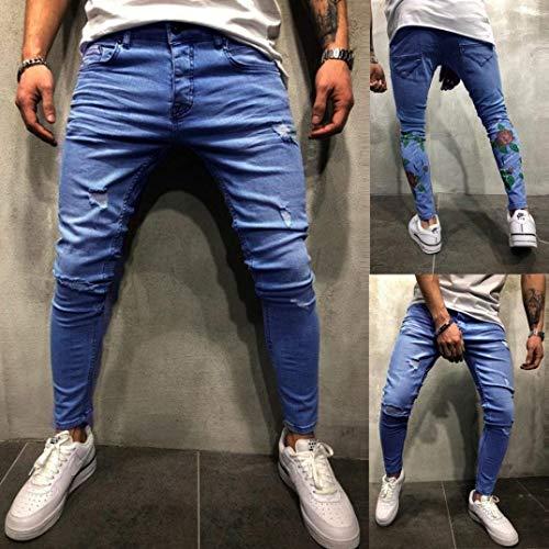 Comodo Blau Libero Estivi Battercake Pantaloni Slim Tempo Sfilacciati Da Per Stampati Fit Uomo Strappati Elasticizzati Jeans Il HxFw6