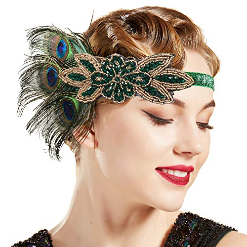 BABEYOND 1920s Flapper Peacock Feather Headband 20s Sequined Showgirl Headpiece (Style-7)