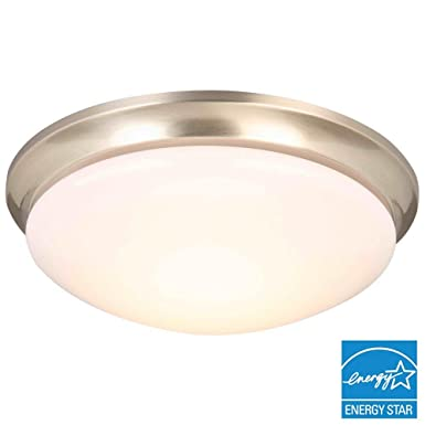 Hampton bay 13 brushed nickel led flushmount model