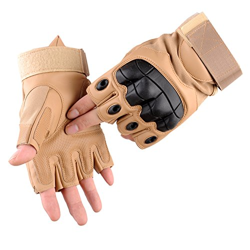 Campstoor Tactical Shooting Gloves Fingerless Half Finger Tactical Gloves Riding Motorcycle Airsoft Military Army Police SWAT Combat Assault Tactical Gloves(Sand, Large)