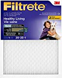 Filtrete MPR 1500 20 x 25 x 1 Healthy Living Ultra Allergen Reduction HVAC Air Filter, Attracts Fine Inhalable Particles, 2-Pack