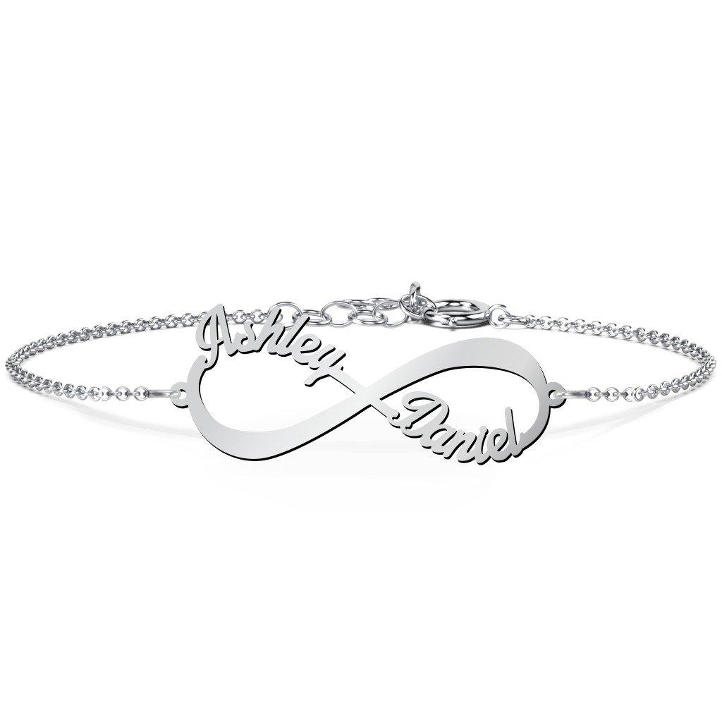14K White Gold Personalized Infinite Love Name Bracelet by JEWLR by TSD