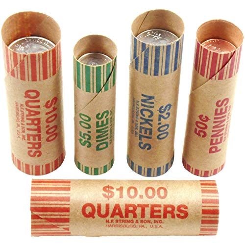 250 Coin Roll Wrappers - Made in USA - Sold by Vets - Easy Fill Value Pack - Pennies, Nickels, Dimes, Quarters