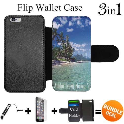 Vintage Purses Ebay - Flip Wallet Case for iPhone 6 Plus/6S Plus (Hawaii Aloha Vintage ) with 3 Card Holders | Shock Protection | Lightweight | Includes HD Tempered Glass and Stylus Pen by Innosub