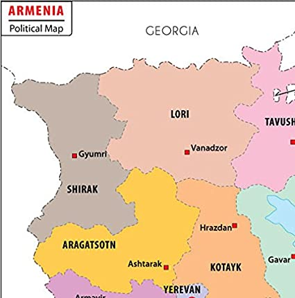 Armenia Political Map 36 W x 3646 H Amazonca Office Products