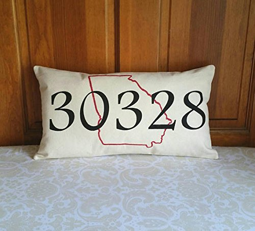 Zip Code Pillow with State Outline