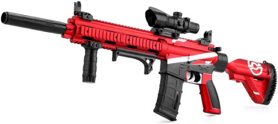 AUZZO HOME M416 Balas de Agua infrarrojas Pistola de Juguete para niños Manual eléctrico Doble Modo de conmutación Pistola de Agua Niños Rifle de Francotirador Al Aire Libre CS Shooting Toys,Rojo