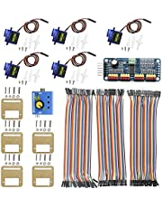 KeeYees Micro Servo Motor Kit with 5pcs SG90 9G Servo and Mount Holder Bracket + PCA9685 Module 16 Channel Servo Motor Driver IIC + RC Servo Tester 3CH ECS CCMP + 3pcs Male Female Dupont Jumper Wires