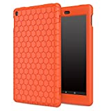 MoKo Case for Fire HD 8 2016 Tablet - [Honey Comb Series] Light Weight Silicone Back Cover [Kids Friendly] for Fire HD 8 (Previous 6th Gen-2016 Release ONLY), Orange (NOT FIT 7th Gen 2017 Tablet)