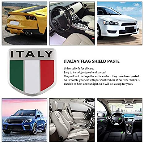 itYukiko Alluminio 3D Mappa Italia Bandiera Nazionale Car Sticker Car Styling per Fiat Iveco Lamborghini Alfa Romeo DeTomaso Maserati Zagato